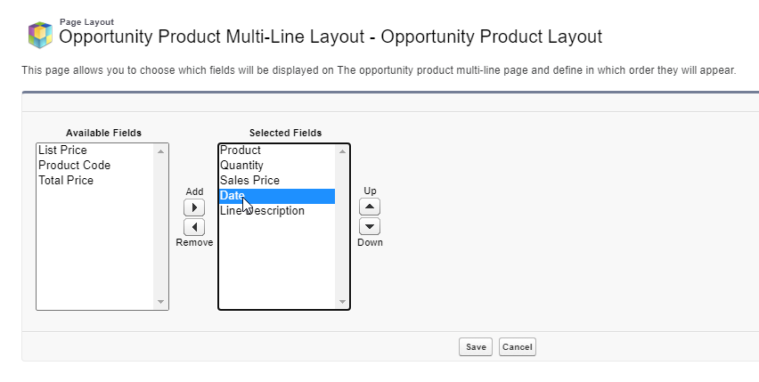 Edit the add products screen on Salesforce Opportunities