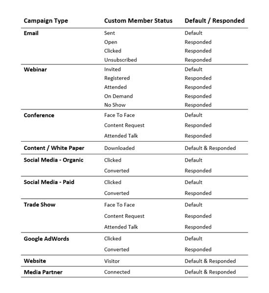Custom Campaign Member Status Examples